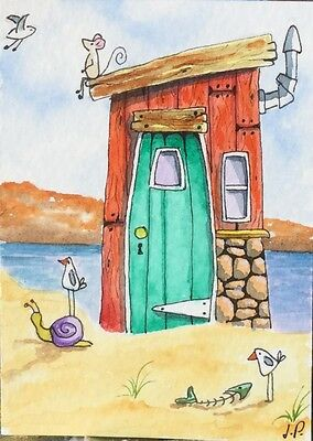 Original Watercolour ACEO Painting by JULIA Seaside Beach Hut, seagull, Mouse