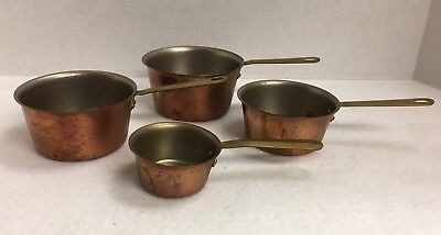 Set If 4 Vintage Stacking Copper Measuring Cups