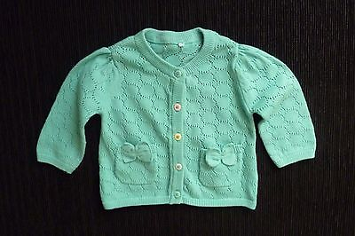 Baby clothes GIRL newborn 0-1m turquoise multi-colour buttons pattern cardigan