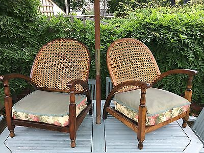 Pair of small Stylish Antique Wicker Backed low Armchairs (Art Deco?)