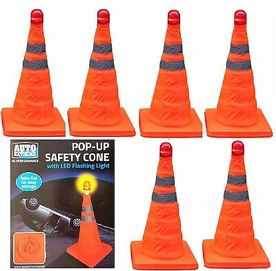 6 x PopUp Bright Traffic Emergency Safety Cone Flashing LED Roadside Night Light