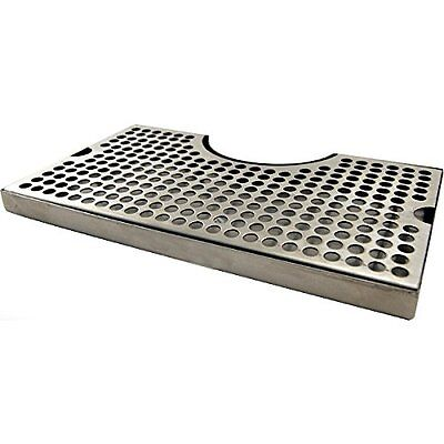"""12"""" Surface Mount Kegerator Beer Drip Tray Stainless Steel Tower Cut Out No"""