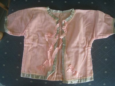 antique Baby clothes 4 large comp bisque doll Bed Jacket pj pink blue 40s era
