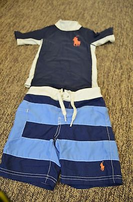 Polo Ralph Lauren Boys 2 Piece Swim Suit Shorts Trunks Rash Guard Shirt 3 3T