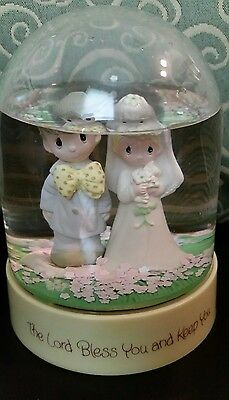 Precious Moments Wedding Water Globe Snow Globe Jonathan and David Lord Bless