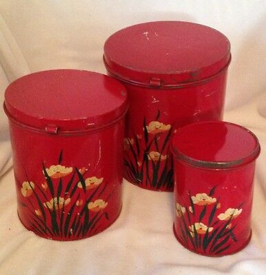 Vintage Red Metal Canisters with Lids