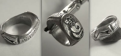 Med.KNIGHTS Crusader Silver Ring w. Lion-Headed Snake (Chnoubis?) inscribed hoop