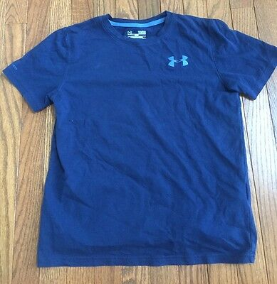 Boys Under Armour Charged Loose Fit Short Sleeve Blue Shirt Size YLG Large