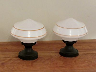 PAIR of Antique Art Deco Schoolhouse Light Fixtures - Professionally Restored!