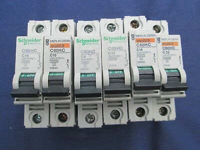 MERLIN GERIN C60HC 6A 10A 16A 20A 25A 32A 50A  SP Multi 9 mcb circuit breakers