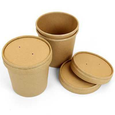 100 X 16oz Disposable Paper Cup Pasta Deli Soup Ice Cream Tub Bowl With Lid