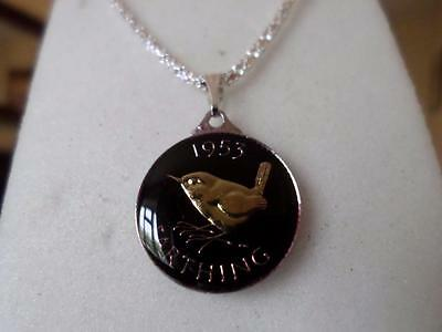 Vintage Enamelled Farthing Coin 1953 Pendant & Necklace. Great Birthday Present