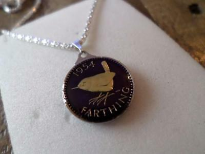 Vintage Enamelled Farthing Coin 1954 Pendant & Necklace. Great Birthday Present
