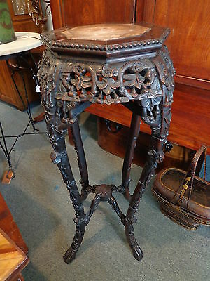 Antique Chinese Carved Wood and Marble Plant Stand Table Signed