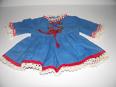 Süsses altes Puppenkleid in blau m. Applikationen, ca. 50/60 er J. - Länge 22 cm