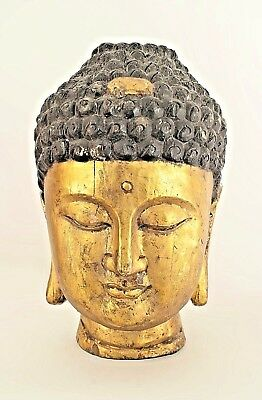 Asian Chinese Style Large Carved Bust (Head) of Buddha