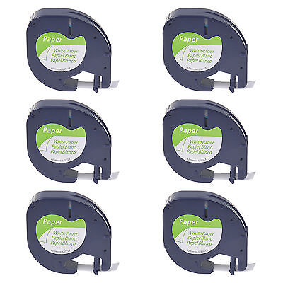 6 Pack S0721510 White Paper Label Tape for DYMO Letratag LT 91330 1/2'' LT100H
