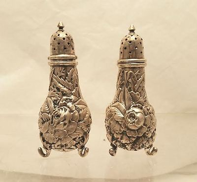 Sterling Salt & Pepper Shakers Repousse by B.B.
