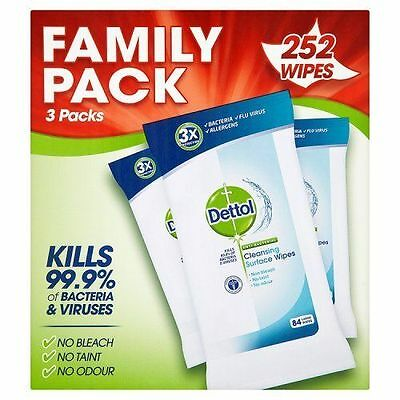 Dettol Anti-Bacterial Cleaning Surface Wipes,252 Wipes FREE 48 HOUR DELIVERY NEW