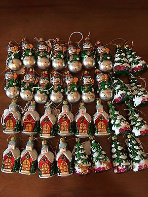 Vintage Glass Christmas Ornaments Lot of 34