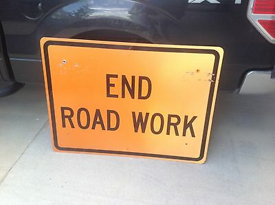 """Construction Road Sign 48"""" x 36"""" END ROAD WORK   Man Cave"""