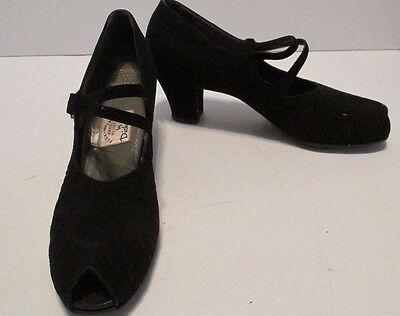 Authentic Vintage 1940s Black Suede Womens Shoes Dickersons Sz8 PeepToe Strappy