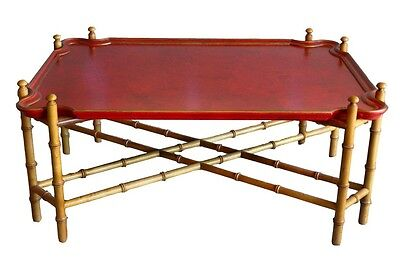 Baker Furniture Regency Style Painted Faux Bamboo Tray Top Coffee Table
