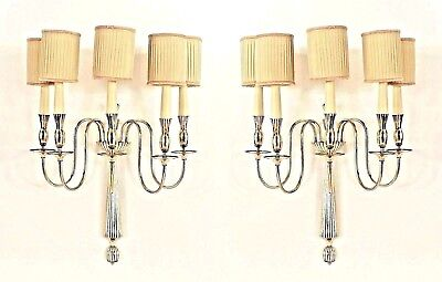 Pair of Italian Art Deco Nickeled Bronze 5 Scroll Arm Wall Sconces