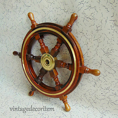 Wooden Brass Centred Maritime Ship Wheel Marine 18 Inches ~ Home Decor