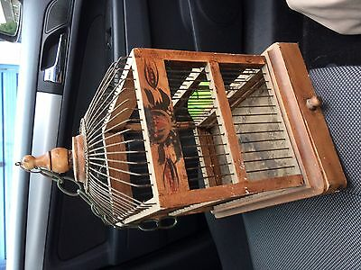 Vintage ethnic decorative oriental wood wire bird cage birdcage hanging 42cmH gc