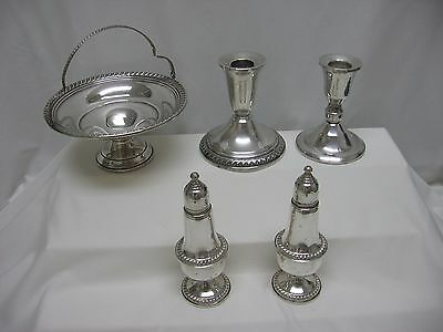 5 Lot Antique Weighted Sterling Silver Candlesticks~Compote~Salt Pepper Save Pet