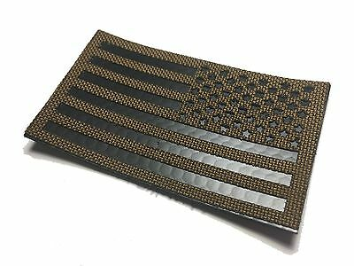 "Reversed Infrared reflective Coyote brown IR US Flag Patch 3.5x2"" Special Forces"