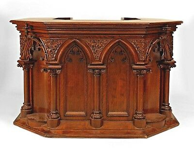 English Gothic Revival Style (19/20th Cent.) Oak Carved Square Pulpit