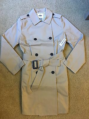 Nwt New Old Navy Women's Beige Belted Double-Breasted Trench Coat Jacket Small