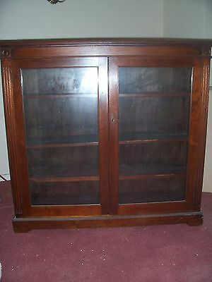 """Vintage Teak Bookcase 48"""" Wide, 45"""" Tall, 2 Glass Doors  (Collect Amersham Hp6 )"""