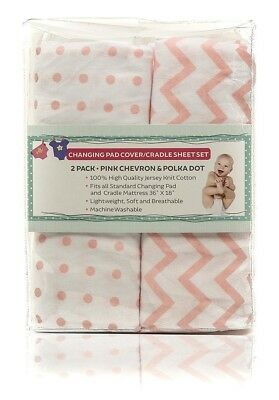 Changing Pad Cover Set - Cradle Sheet Set 100% Cotton Jersey Knit for Baby...