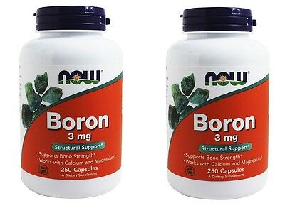 NOW Foods Boron 3 mg, 250 Capsules-2 Pack
