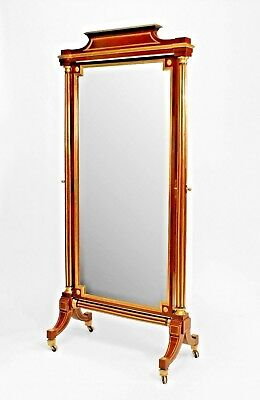 French Louis XVI Style (19th Cent.) Mahogany Cheval Mirror