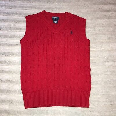 Boys Youth Polo Ralph Lauren Sweater Vest Red SZ Medium