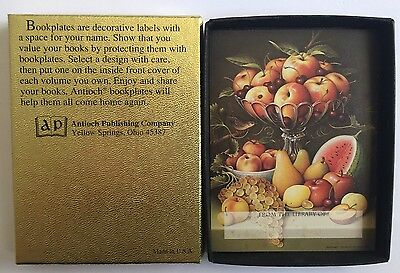 Seven Self-Adhesive Antioch Bookplates, Fruit Centerpiece Design