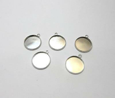 14 16 or 18 mm round silver plated lightweight setting pendants choose pack size