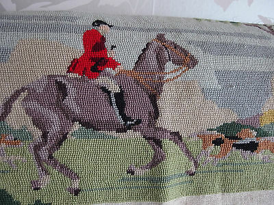 vintage antique hand worked tapestry picture hunting equestrian 1930s