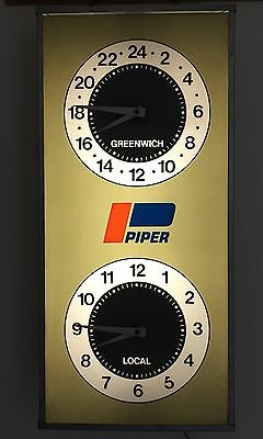 Rarest Piper Airplane Aircraft Airport Lighted Pam Clock Lock Haven Dual Face