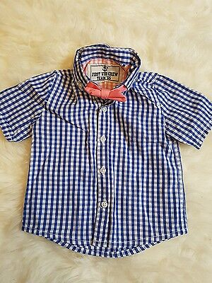 *Cute* Boys 9-12 Months NEXT Blue Gingham shirt with Dicky Bow Tie