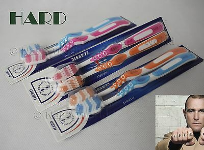 2x REALLY HARD Smoker TOOTHBRUSHES Soft Grip Flexible Neck Multi-Height Bristles