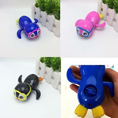 Color Random Cute Cartoon Swimming Penguin Baby Kids Bath Toy Wind Up Toy