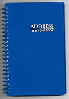 NEW! BLUE SPIRAL ADDRESS BOOK WITH TABBED PAGES - Large Print & English