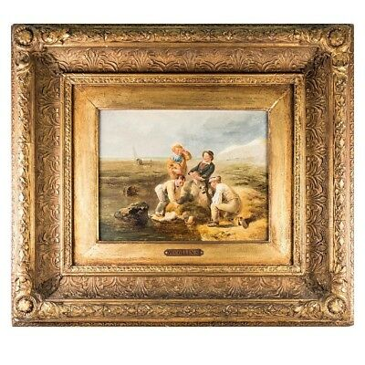 """RARE Antique English Oil Painting, WILLIAM COLLINS (1788-1847), """"Contrary Winds"""""""