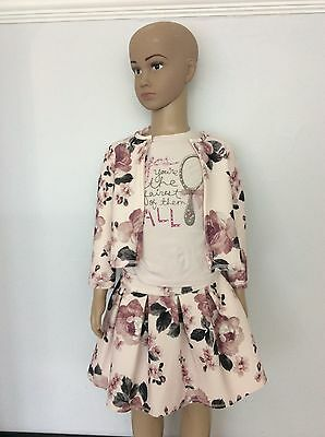 MONNALISA Pink Flower 3 Piece Outfit Set Age 2 Years 24m Months Skirt Top Jacket