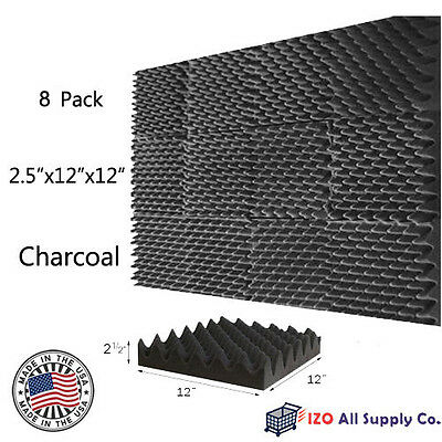 """2.5""""x12""""x12"""" [8 PACK] Acoustic Egg Crate Soundproofing Foam Studio Wall Tiles"""
